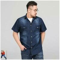 Nt pakaian pria kemeja delon jeans light blue colour pakaian termurah