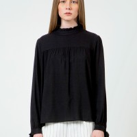 Colorbox Ruffle Long Sleeve Blouse I:Blwkey120D032 Black