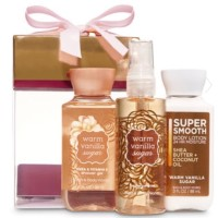 BATH AND BODY WORKS WARM VANILLA SUGAR MINI BOX GIFT SET 3PC TRAVEL