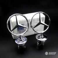 1Pc Stiker Emblem Logo Silver Metal Fit untuk Mercedes Benz W202
