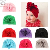 Toddlers Solid Elastic Flower Soft Indian Headwear Hat
