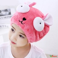 Cute Animal Embroidery Super Absorbent Dry Hair Cap Children'S Sp