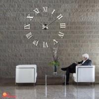 Jam Dinding Besar 3D Permukaan Cermin Angka Romawi Mewah DIY