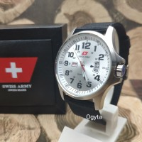 Swiss Army Analog Jam Tangan Pria Silver Putih Canvas DA954G Original