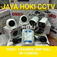 PAKET CCTV 4CH 4 CAMERA 3MP FULL HD KOMPLIT HDD 320GB