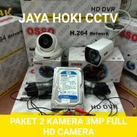 Paket CCTV 4 Channel 2 Camera 3MP Full HD Camera Hdd 500GB Komplit