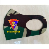 Masker Korea Bahan Kain Scuba Loreng TNI Malvinas Logo PM TNI AL