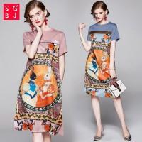 Gaun Midi Casual Short Sleeve Dress Wanita A-Line Dan Gambar Bergay TG