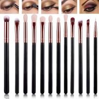 12Pcs / Set Brush Warna Coklat Emas untuk Eyeshadow