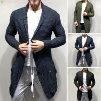 Cardigan Rajut Pria Slim Fit Lengan Panjang Warna Polos untuk Musim TG