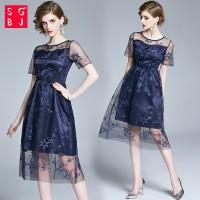 SGBJ Gaun Midi Party Dress Wanita Dengan Bahan Lace Dan Bergaya Vin TG