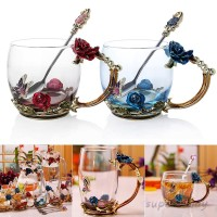 Enamel Coffee Tea Cup Mug 3D Rose Butterfly Glass Cups Wedding Gift TG
