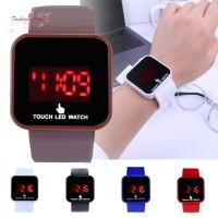 Jam Tangan Quartz Analog Dial Kotak Strap Silikon untuk Pria /