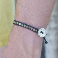 MEN Green Jasper bead Single Wrap Bracelet / Gelang Tali / Gelang Batu