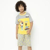 Baju Kaos Setelan Anak Laki-Laki LITTLE M Size S - Size S, Kuning Striker