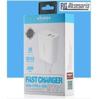 Charger Vivan DT01 Dual Ouput 5A Fast Charger with Type-C&USB original