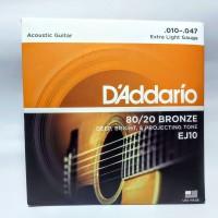 Senar Gitar Akustik D'Addario/DAddario EJ10 ukuran 010 Original USA