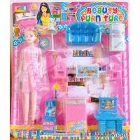 Mainan Anak Boneka Barbie Perabotan Rumah-Rumahan Beauty Furniture