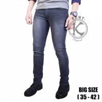 Celana Jeans Pria Kent Slim Fit Denim Stretch Big Size Dark Grey