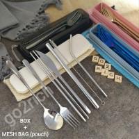 Sendok Set Sendok Korea Set Garpu Sumpit Pisau Sedotan Stainless Steel - Silver
