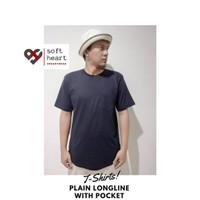 Kaos Polos Pria Longline / Kurta Kantong Depan Lengan Pendek All Size