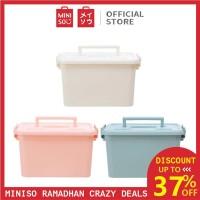 MINISO Storage Box Organizer Multifungsi, Putih / Merah Muda / Biru - Putih