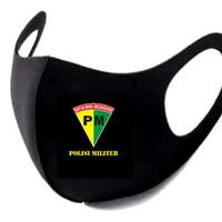 Masker Korea Bahan Kain Scuba Hitam Logo Polisi Militer