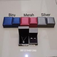 Kotak Box Tempat Cincin Kulit Pu Leather High Quality Biru Pink Silver