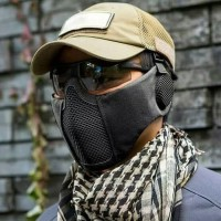 Tactical Mask Mesh Masker Airsoft Half Face Double Strap Import