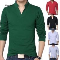 Kaos T-Shirt Slim Fit Kerah Tegak Lengan Panjang Warna Polos Ada