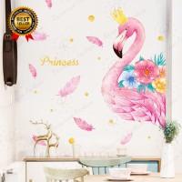 Stiker Dinding Desain Flamingo untuk Kamar Anak Perempuan TG