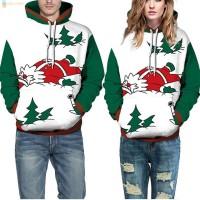 Sweater Kaos Hoodie Casual Pria Wanita Lengan Panjang Motif Natal A TG
