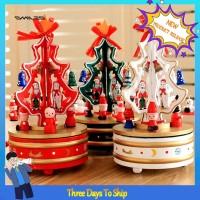 LYY Wooden Christmas Tree Rotating Carousel Music Box Kids Toy Gift TG