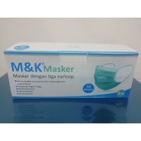 Masker Medis M&K 3Ply Disposible Surgical Mask Isi 50 Pcs