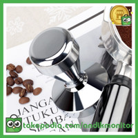 OneTwoCups Tamper Kopi Espresso Flat Stainless Steel Chrome Plated