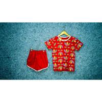 Setelan Baju Tidur Piyama Hot Pants Premium Motif Sablon - Import