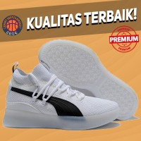 Sepatu Basket Sneakers Puma Clyde Court Disrupt White Black Pria