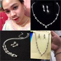 NK0422 - Paket Perhiasan Wedding / Set Kalung Anting Pengantin Kristal