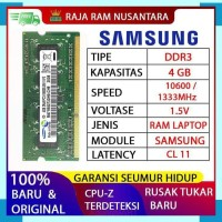 RAM LAPTOP SAMSUNG DDR3 4GB 106001333MHz ORIGINAL RAM SODIMM 1.5v 4GB