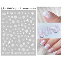 White Snowflake Christmas Ultra Thin Nail Sticker Stiker Kuku WG154