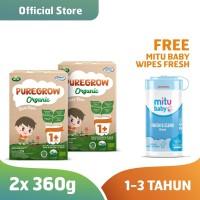 2 Box PUREGROW Organic 1-3 thn 360gr Boy Free Mitu Baby Wipes Fresh