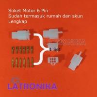 Soket Motor 6 Pin Kecil + Skun Lengkap Socket 6Pin Konektor Kabel 6P