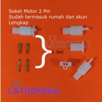 Soket Motor 2 Pin Kecil + Skun Lengkap Socket 2Pin Konektor Kabel 2P