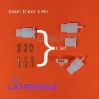 Soket Motor 3 Pin Kecil + Skun Lengkap Socket 3Pin Konektor Kabel 3P