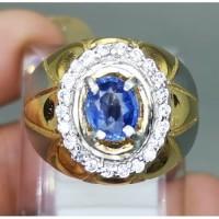 Cincin Batu Permata Blue Safir Ceylon Asli Natural (Kode 800)