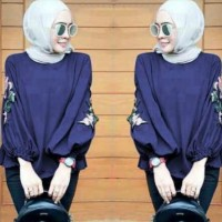 Fashion Muslim Blouse Wanita.NadaTop Navy /Tunik Kemeja/Atas MasaKini