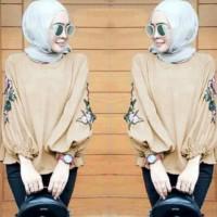 Fashion Muslim/Blouse Wanita NadaTop Mocca /Atas/Tunik Kemeja/Terbaru.