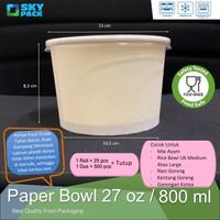 Paper Bowl 27 oz / 800 ml Plus Tutup