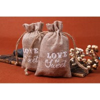 2Pcs Kantung Tas Permen dengan Bahan Kain Goni untuk Souvenir Pesta