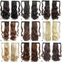 Hair Extensions Women Wigs Pony Tail Wrap Around Clip In Ponytail